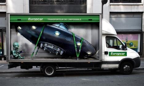 Europcar publicité trompe l'oeil 2